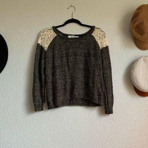 "Crochet ""cold shoulder"" knit sweater"